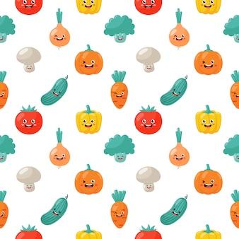 Kawaii de patrones sin fisuras personajes divertidos vegetales divertidos dibujos animados aislados