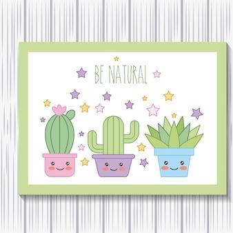 Kawaii potted cactus plants dibujos animados sea tarjeta natural