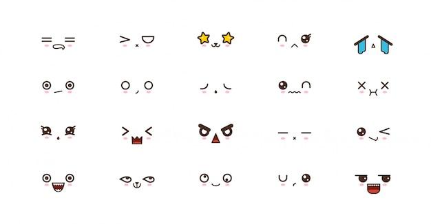 Kawaii sonríe emoticones. emoji japonés