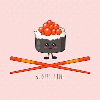 Kawaii sushi, roll y palillos - logotipo o pancarta sobre fondo de color, cocina tradicional japonesa