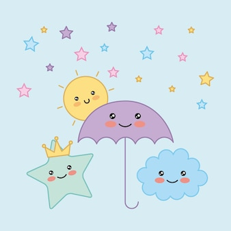 Kawaii umbrella star cloud sol ilustración vectorial de dibujos animados