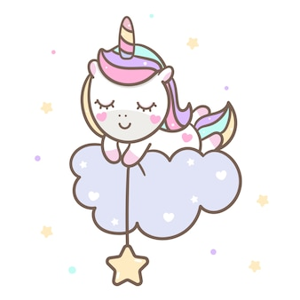 Kawaii unicorn vector durmiendo en la nube