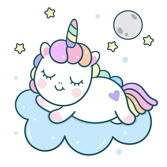 Kawaii unicorn vector personaje duerme con la luna