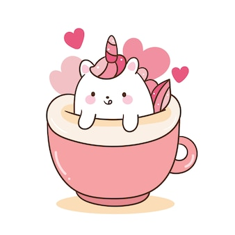 Kawaii unicornio dibujos animados enamorarse café