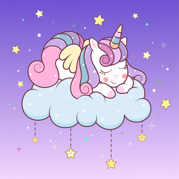 Kawaii unicornio durmiendo en la nube con estrellas.
