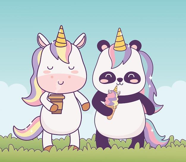 Kawaii unicornio y panda con taza de café y helado en hierba fantasía de dibujos animados