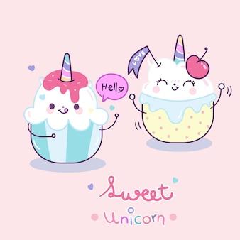 Kawaii unicornio pareja pastel de dibujos animados