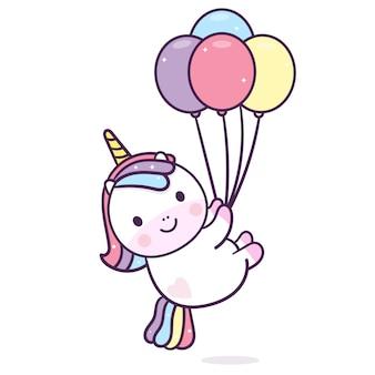 Kawaii unicornio sosteniendo globos