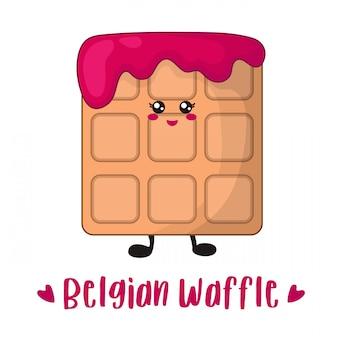 Kawaii waffle belga de dibujos animados con mermelada de cereza o frambuesa