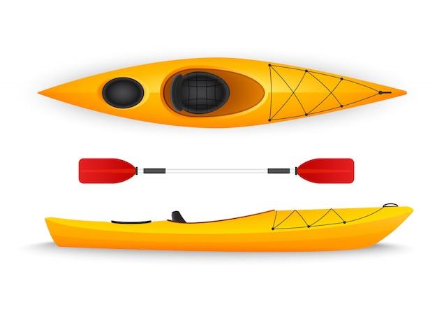 Kayak amarillo, con vistas superiores y laterales aisladas.