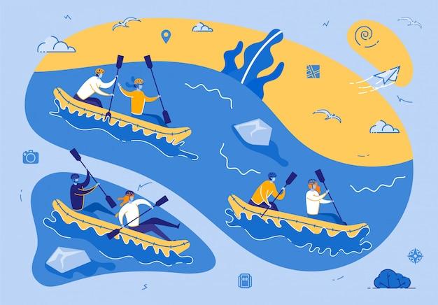 Kayak o rafting competición deportiva extrema