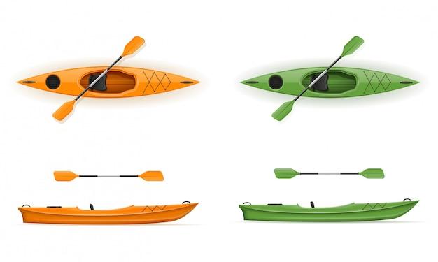 Kayak de plastico para pesca y turismo ilustración vectorial