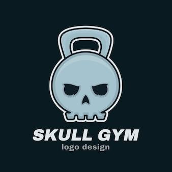 Kettlebells de peso de cráneo. diseño de plantilla de logotipo de ilustración de dibujos animados de personaje de línea de estilo moderno. cráneo, peso, deporte, gimnasio, concepto de pesas rusas