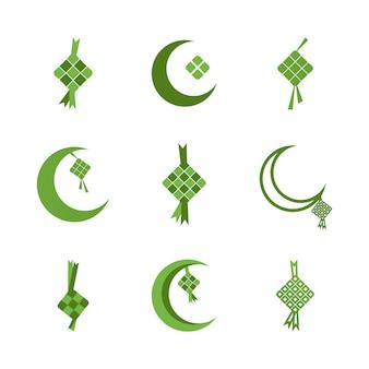 Ketupat eid al fitr ramadán ilustración