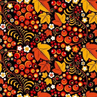 Khokhloma patrón sin costuras en estilo popular eslavo