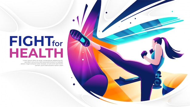 Kick boxing art en vector