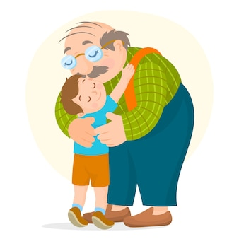 Kid abraza a su abuelo