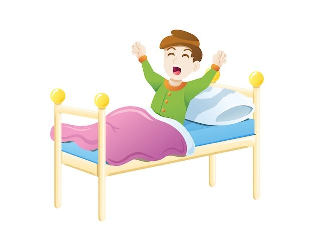 Kid se despierta por la mañana