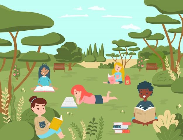 Kid niños personaje leer libro en el parque natural nacional, niño relajarse ilustración de dibujos animados de concepto de lugar al aire libre. jornada escolar y universitaria.