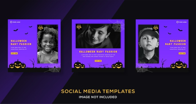 Kids et banner background para halloween fashion sale instagram post.