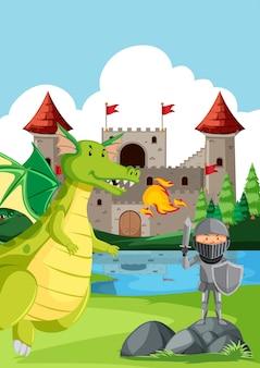 Kight luchando contra un dragón