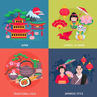Kimono de estilo japonés y símbolos de comida tradicional 4 iconos planos cuadrados banner colorido abstracto isol