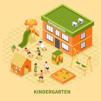 Kinder edificio composición isométrica