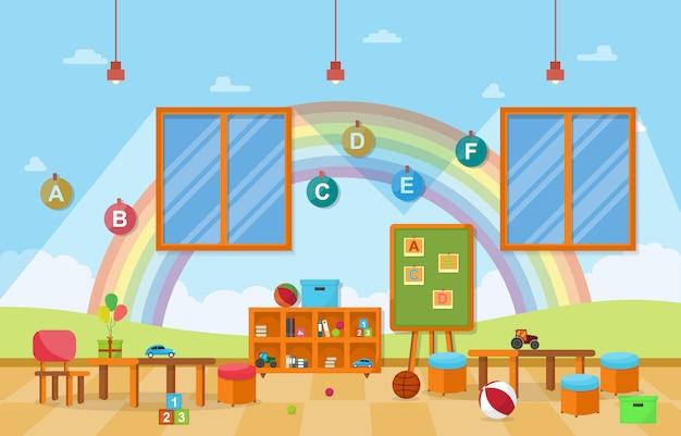Kindergarten aula interior niños niños escuela juguetes muebles
