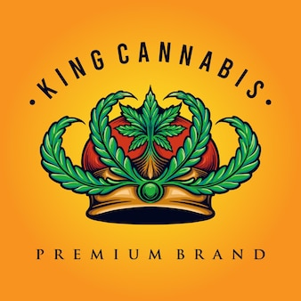 King cannabis logo weed shop and company illustration