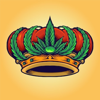 King kush logo corona cannabis aislado