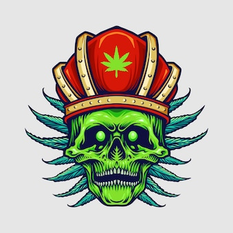 King red crown angry skull weed leaves