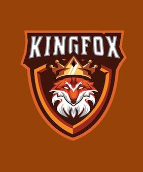 Kingfox esports logo cabeza de zorro con corona rey