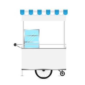 Kiosco blanco, plantilla en blanco de kiosco ruedas carro stock clip art para diseño