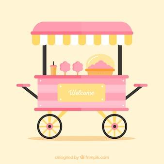 Kiosco rosa de algodón de azúcar sobre ruedas