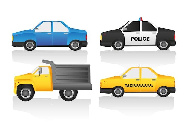 El kit para el automóvil incluye un camión normal y un auto de policía