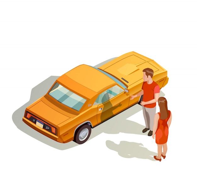 Kit de coche composición isométrica