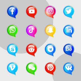 Kit de colección de iconos de redes sociales