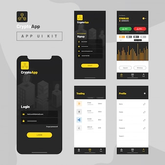 Kit de interfaz de usuario de la aplicación crypto para aplicaciones móviles receptivas.