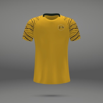 Kit de fútbol de australia, plantilla de camiseta para camiseta de fútbol.