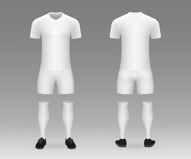 Kit de fútbol en blanco plantilla realista 3d