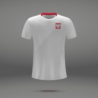 Kit de fútbol de polonia, plantilla de camiseta para camiseta de fútbol.