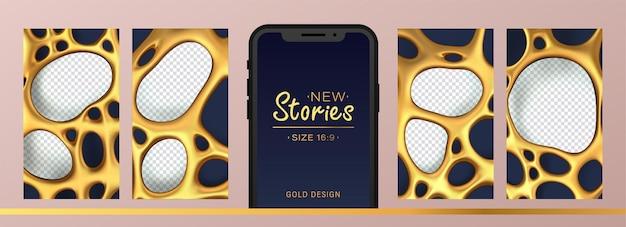 Kit de historias para redes sociales con malla dorada abstracta con agujeros para fotos