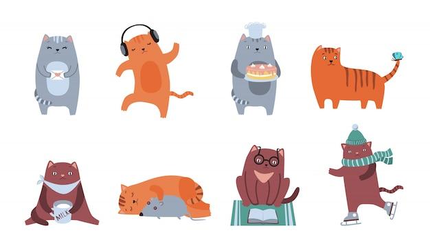 Kit de iconos de gatos lindos vector gratuito