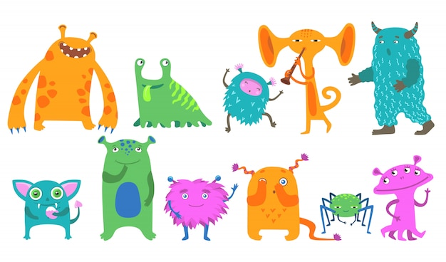 Kit de iconos de monstruos de dibujos animados