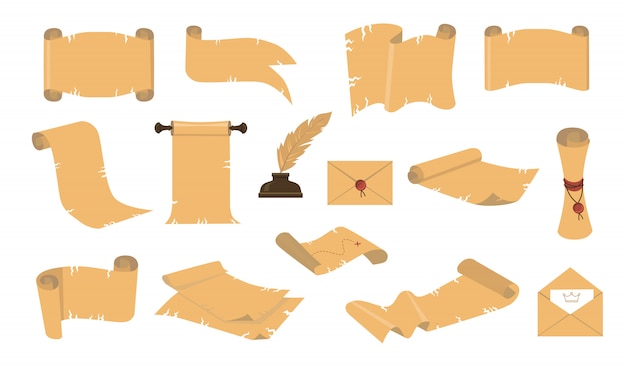 Kit de iconos de pergaminos antiguos de dibujos animados