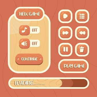 Kit de interfaz gráfica de usuario de plantilla de juego de vector