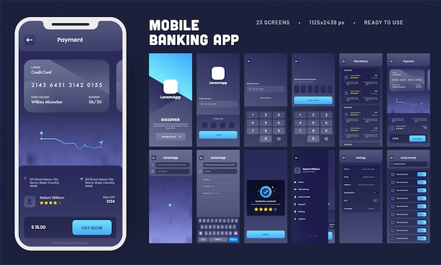 Kit de interfaz de usuario de la aplicación de banca móvil con múltiples pantallas como inicio de sesión, verificación, historial de viajes, pago, configuración e invitación a amigos.