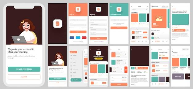 Kit de interfaz de usuario de la aplicación e-learning para aplicaciones móviles receptivas o sitios web con diferentes diseños que incluyen inicio de sesión, registro, libros y pantallas de notificación.
