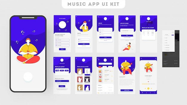 Kit de interfaz de usuario de aplicación móvil para aplicaciones de música con múltiples pantallas.