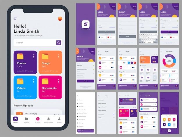Kit de interfaz de usuario de aplicación móvil con diferentes diseños de interfaz gráfica de usuario que incluyen inicio de sesión, creación de cuenta, registro, redes sociales y pantallas de notificación.